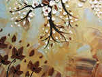 CUSTOM Abstract Art Painting Tree Original Textured Tree of Life White Flowers Blue Brown Bronze - Christine Krainock Art - Contemporary Art by Christine - 4