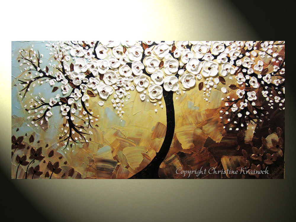 CUSTOM Abstract Art Painting Tree Original Textured Tree of Life White Flowers Blue Brown Bronze - Christine Krainock Art - Contemporary Art by Christine - 2