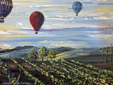 ORIGINAL Art Abstract Painting Vineyard Hot Air Balloons Landscape Wine Decor Palette Knife Impasto - Christine Krainock Art - Contemporary Art by Christine - 5