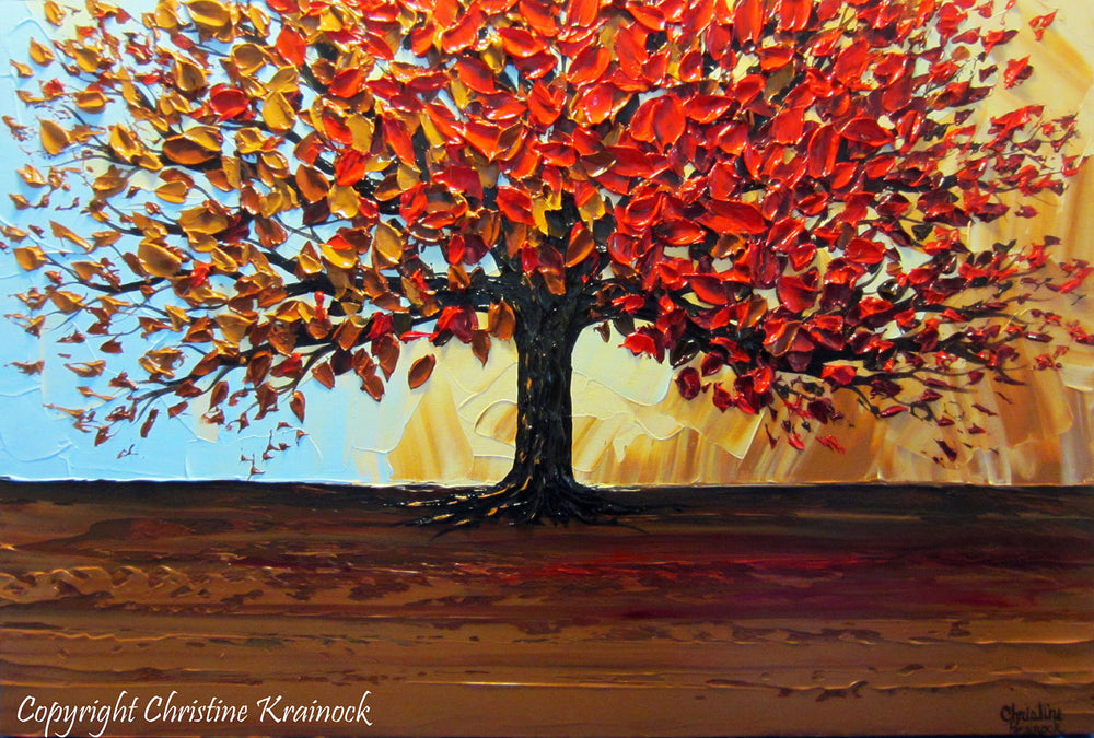 CUSTOM Original Art Abstract Painting Red Tree of Life Modern Textured Autumn Fall Blue Brown Gold - Christine Krainock Art - Contemporary Art by Christine - 3