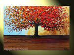 CUSTOM Original Art Abstract Painting Red Tree of Life Modern Textured Autumn Fall Blue Brown Gold - Christine Krainock Art - Contemporary Art by Christine - 2