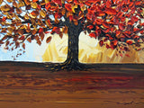 CUSTOM Original Art Abstract Painting Red Tree of Life Modern Textured Autumn Fall Blue Brown Gold - Christine Krainock Art - Contemporary Art by Christine - 5