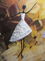 ORIGINAL Abstract Dancer Painting White Dress Ballet Dance Textured Palette Knife Brown Gold - Christine Krainock Art - Contemporary Art by Christine - 3