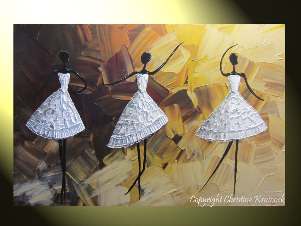 ORIGINAL Abstract Dancer Painting White Dress Ballet Dance Textured Palette Knife Brown Gold - Christine Krainock Art - Contemporary Art by Christine - 2