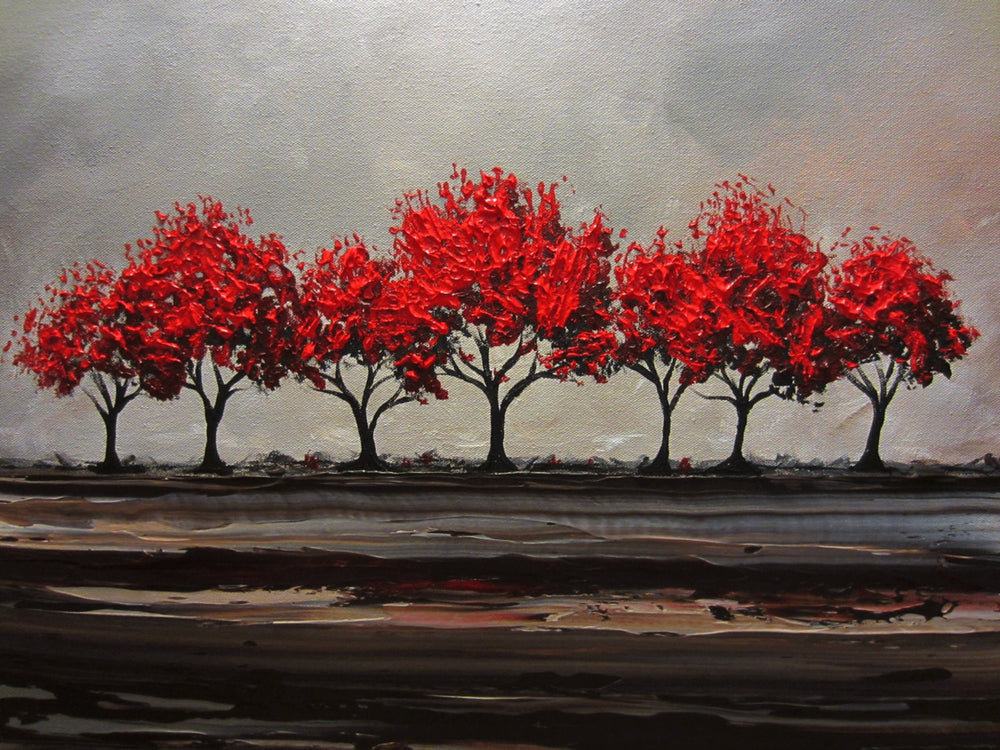 CUSTOM Original Art Abstract Painting Red Trees Large Textured Modern Tree Landscape Horizon - Christine Krainock Art - Contemporary Art by Christine - 4