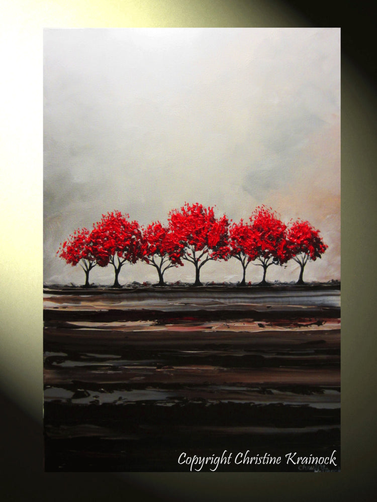 CUSTOM Original Art Abstract Painting Red Trees Large Textured Modern Tree Landscape Horizon - Christine Krainock Art - Contemporary Art by Christine - 2