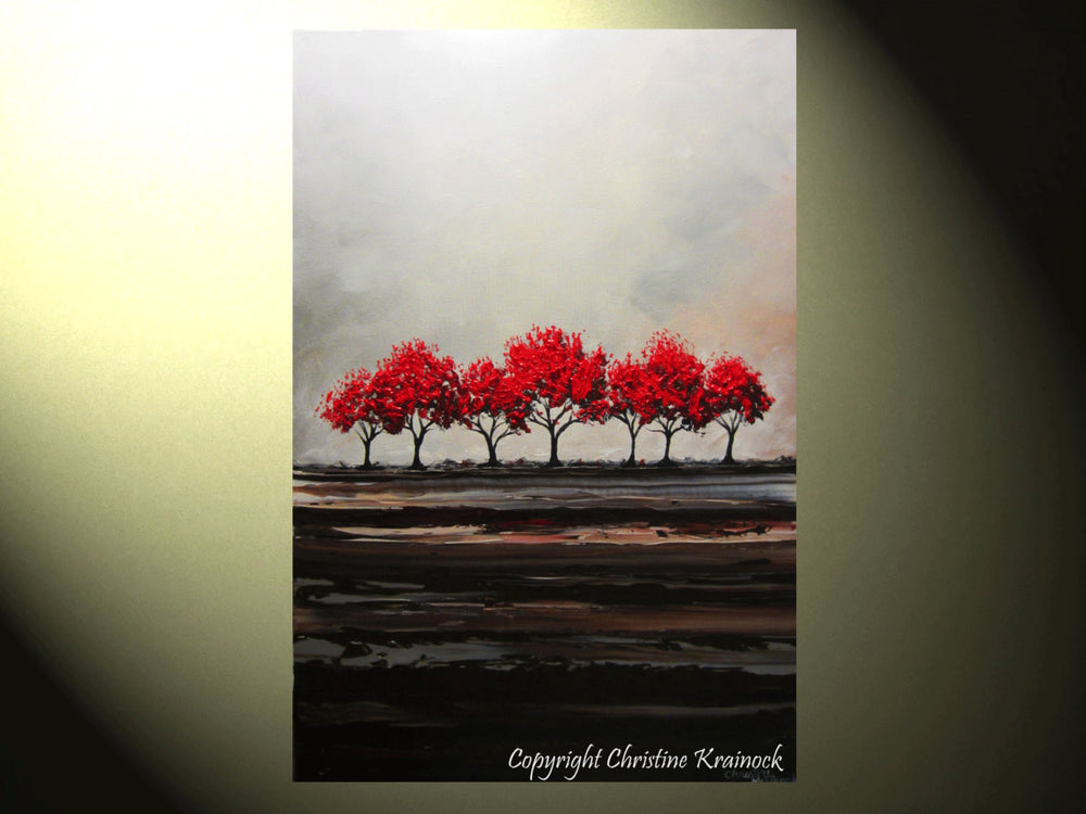 CUSTOM Original Art Abstract Painting Red Trees Large Textured Modern Tree Landscape Horizon - Christine Krainock Art - Contemporary Art by Christine - 3