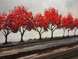 CUSTOM Original Art Abstract Painting Red Trees Large Textured Modern Tree Landscape Horizon - Christine Krainock Art - Contemporary Art by Christine - 5