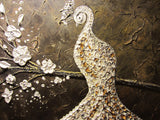 CUSTOM Abstract Peacock Painting White Silver Gold Textured Cherry Blossoms MADE TO ORDER - Christine Krainock Art - Contemporary Art by Christine - 4