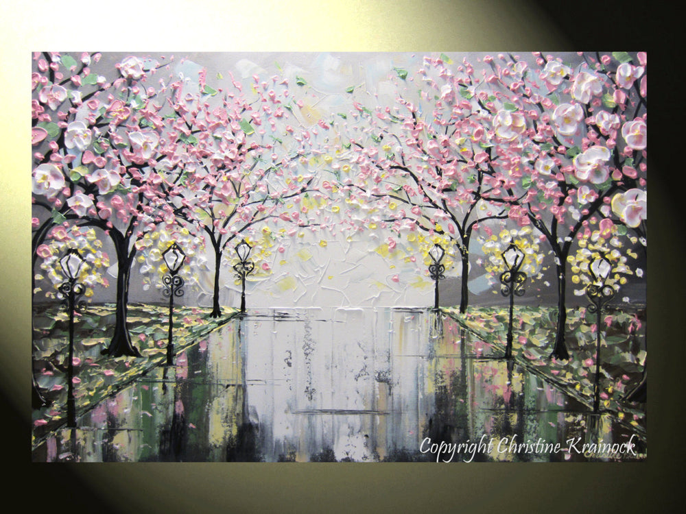 SOLD Original Art Abstract Painting Pink White Cherry Tree Blossoms Park Textured Wall Decor Palette Knife Grey Yellow - Christine