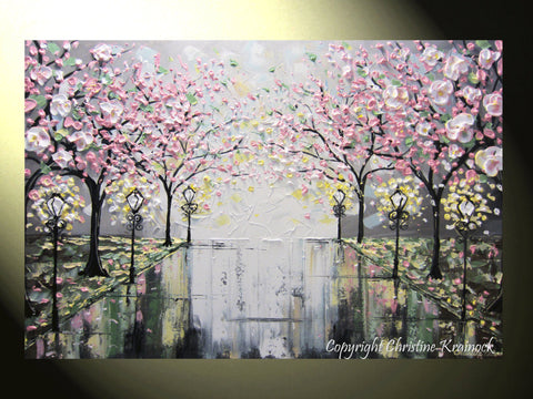 SOLD Original Art Abstract Painting Pink White Cherry Tree Blossoms Park Textured Wall Decor Palette Knife Grey Yellow - Christine - Christine Krainock Art - Contemporary Art by Christine - 1