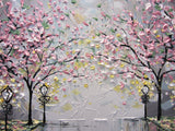 SOLD Original Art Abstract Painting Pink White Cherry Tree Blossoms Park Textured Wall Decor Palette Knife Grey Yellow - Christine - Christine Krainock Art - Contemporary Art by Christine - 4