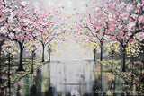 SOLD Original Art Abstract Painting Pink White Cherry Tree Blossoms Park Textured Wall Decor Palette Knife Grey Yellow - Christine - Christine Krainock Art - Contemporary Art by Christine - 2