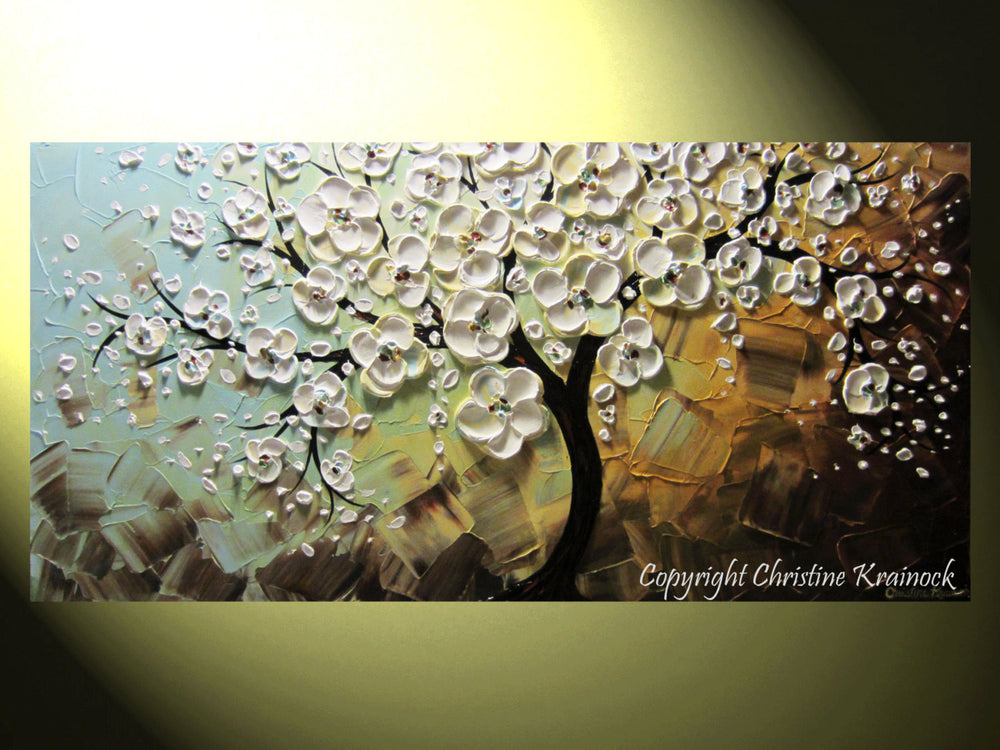 CUSTOM Art Abstract Painting White Cherry Tree Blossoms Flowers Textured Blue Brown Gold - Christine Krainock Art - Contemporary Art by Christine - 3