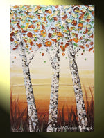 SOLD Original Art Abstract Painting Birch Trees Textured Modern Palette Knife Autumn Tree Landscape Wall Decor White Gold Large  -Christine