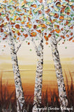 SOLD Original Art Abstract Painting Birch Trees Textured Modern Palette Knife Autumn Tree Landscape Wall Decor White Gold Large  -Christine - Christine Krainock Art - Contemporary Art by Christine - 3