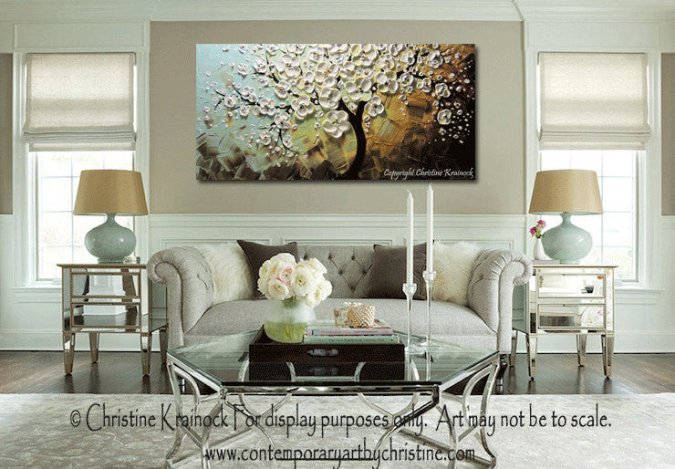 CUSTOM Art Abstract Painting White Cherry Tree Blossoms Flowers Textured Blue Brown Gold - Christine Krainock Art - Contemporary Art by Christine - 2
