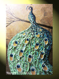 CUSTOM Abstract Painting Peacock Textured Contemporary Art Blue Green Gold MADE to ORDER - Christine Krainock Art - Contemporary Art by Christine - 4