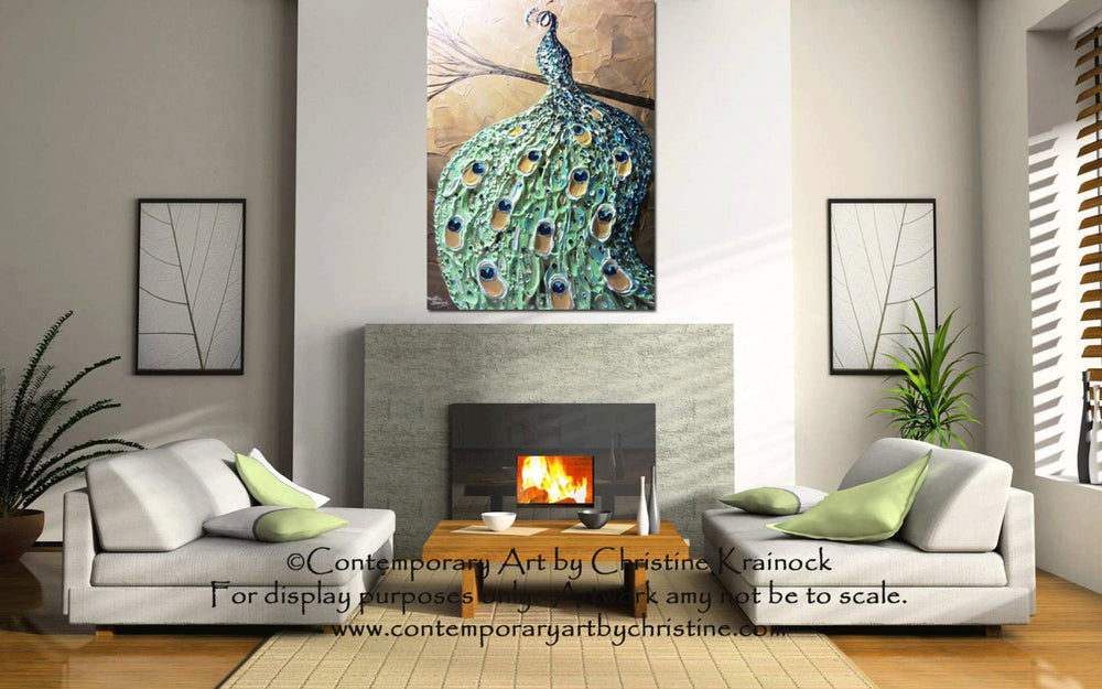 CUSTOM Abstract Painting Peacock Textured Contemporary Art Blue Green Gold MADE to ORDER - Christine Krainock Art - Contemporary Art by Christine - 2
