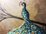 CUSTOM Abstract Painting Peacock Textured Contemporary Art Blue Green Gold MADE to ORDER - Christine Krainock Art - Contemporary Art by Christine - 3
