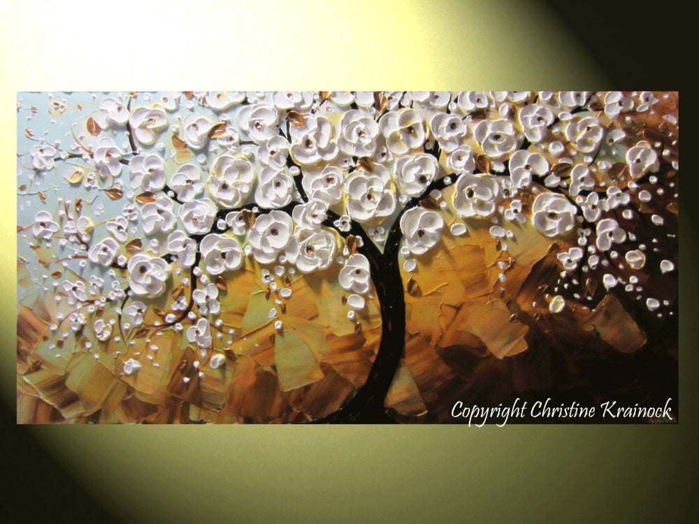 CUSTOM Art Abstract Painting White Cherry Tree Painting Flowers Textured Blue Brown Gold - Christine Krainock Art - Contemporary Art by Christine - 4