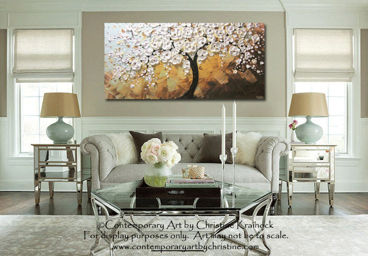 CUSTOM Art Abstract Painting White Cherry Tree Painting Flowers Textured Blue Brown Gold - Christine Krainock Art - Contemporary Art by Christine - 2