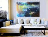 "GICLEE PRINT Art Abstract Painting Modern Blue Canvas Prints Urban Teal Brown City Sizes to 60"" - Christine Krainock Art - Contemporary Art by Christine - 4"