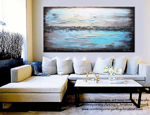 Giclee print art blue abstract painting modern coastal for How to make teal paint