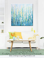 GICLEE PRINT Art Abstract Painting Light Blue Aqua Contemporary Coastal Wall Art Teal Yellow Canvas - Christine Krainock Art - Contemporary Art by Christine - 3