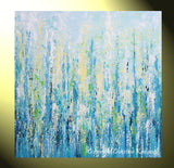 "ORIGINAL Art Abstract Painting Blue Aqua Textured LARGE Contemporary Wall Art Green Yellow 36x36"" - Christine Krainock Art - Contemporary Art by Christine - 3"