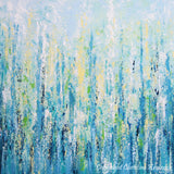 "ORIGINAL Art Abstract Painting Blue Aqua Textured LARGE Contemporary Wall Art Green Yellow 36x36"" - Christine Krainock Art - Contemporary Art by Christine - 5"