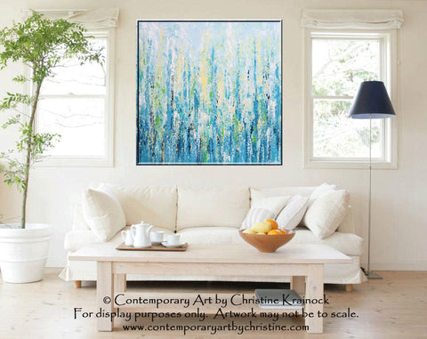 SOLD ORIGINAL Art Abstract Painting Blue Aqua Textured LARGE ...