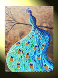 GICLEE PRINT Art Abstract Peacock Painting Modern Blue Canvas Prints Aqua Teal Brown Green Artwork - Christine Krainock Art - Contemporary Art by Christine - 3