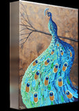 GICLEE PRINT Art Abstract Peacock Painting Modern Blue Canvas Prints Aqua Teal Brown Green Artwork - Christine Krainock Art - Contemporary Art by Christine - 6