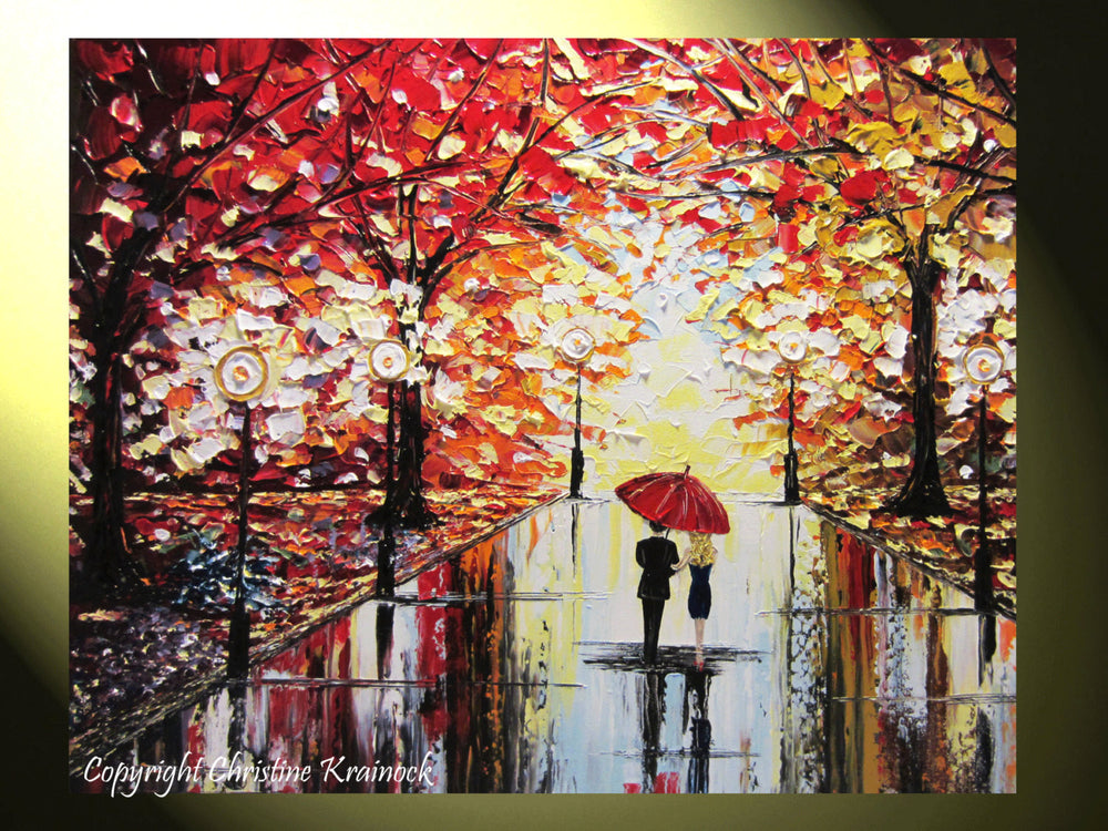 SOLD Original Art Abstract Painting Couple Red Umbrella Trees Rain Modern Landscape Textured Palette Knife Large Summer  -Christine Krainock