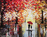 SOLD Original Art Abstract Painting Couple Red Umbrella Trees Rain Modern Landscape Textured Palette Knife Large Summer  -Christine Krainock - Christine Krainock Art - Contemporary Art by Christine - 2