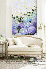 GICLEE PRINT Art Abstract Painting Hydrangea Purple Lavender Blue White Flowers Canvas Prints - Christine Krainock Art - Contemporary Art by Christine - 2