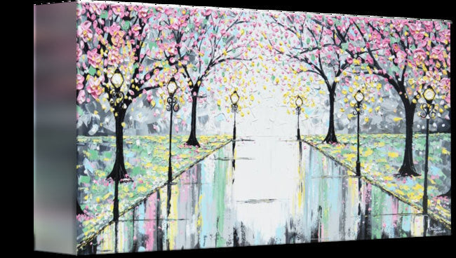 "GICLEE PRINT Abstract Art Painting Pink Cherry Trees Canvas Prints Grey Yellow White-sizes up to 60"" - Christine Krainock Art - Contemporary Art by Christine - 5"