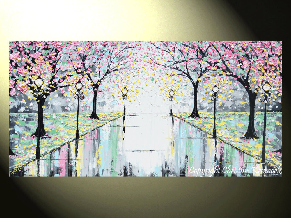 "GICLEE PRINT Abstract Art Painting Pink Cherry Trees Canvas Prints Grey Yellow White-sizes up to 60"" - Christine Krainock Art - Contemporary Art by Christine - 2"