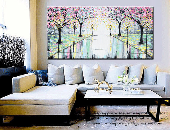 "GICLEE PRINT Abstract Art Painting Pink Cherry Trees Canvas Prints Grey Yellow White-sizes up to 60"" - Christine Krainock Art - Contemporary Art by Christine - 3"
