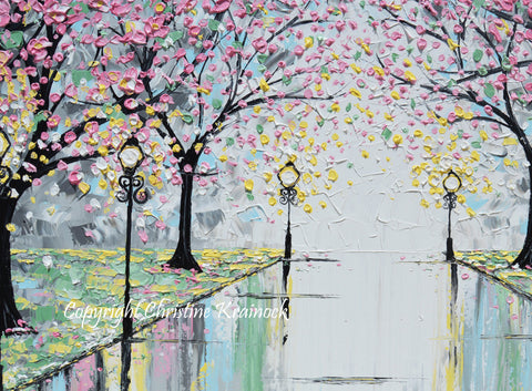 giclee print abstract art painting pink cherry trees canvas prints