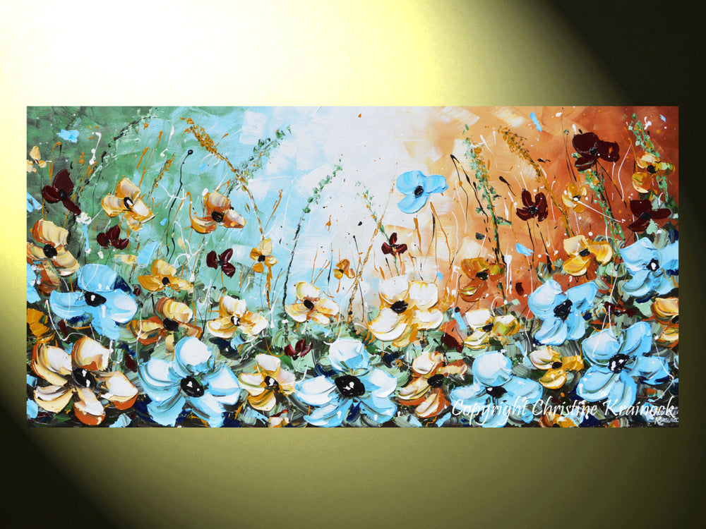 "GICLEE PRINT Art Abstract Painting Blue Flowers Poppies Modern Canvas Prints Select Sizes to 60"" - Christine Krainock Art - Contemporary Art by Christine - 3"