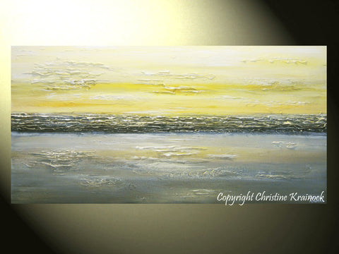 CUSTOM Art Abstract Painting Yellow Grey Modern Textured Gold White ...