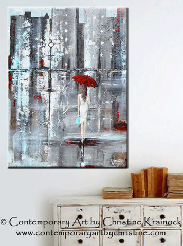 abstract painting girl red umbrella walking in rain city a Trip to Tiffanys palette knife painting grey Tiffany Blue Tiffany & Co  wall decor canvas print