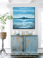 SOLD ORIGINAL Art Abstract Painting Blue Textured Ocean XL Modern Seascape Palette Knife Aqua Brown Grey White Beach Wall Decor  -Christine - Christine Krainock Art - Contemporary Art by Christine - 5