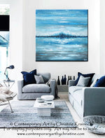 SOLD ORIGINAL Art Abstract Painting Blue Textured Ocean XL Modern Seascape Palette Knife Aqua Brown Grey White Beach Wall Decor  -Christine - Christine Krainock Art - Contemporary Art by Christine - 1