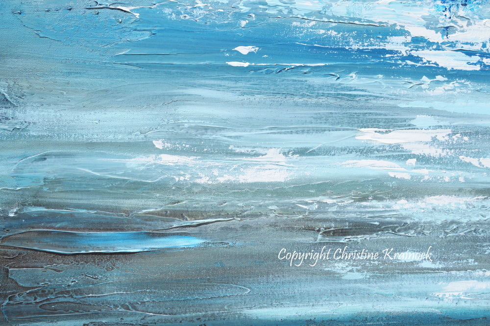 SOLD ORIGINAL Art Abstract Painting Blue Textured Ocean XL Modern Seascape Palette Knife Aqua Brown Grey White Beach Wall Decor  -Christine - Christine Krainock Art - Contemporary Art by Christine - 4