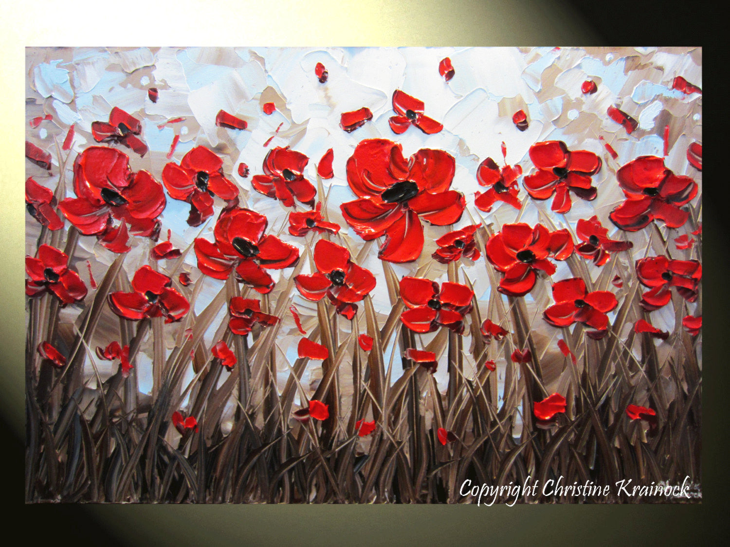 Sold original art abstract painting red poppy flowers textured sold original art abstract painting red poppy flowers textured modern poppies palette knife blue brown floral large wall decor 24x36 christine mightylinksfo Image collections