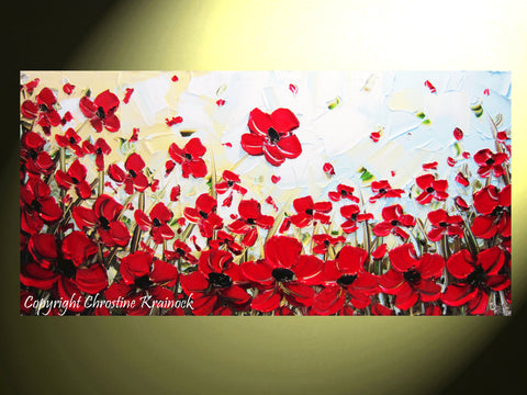 SOLD ORIGINAL Art Abstract Painting Red Poppy Painting Flowers Textured Modern Landscape Poppies Palette Knife Painting Fall Wall Decor Christine - Christine Krainock Art - Contemporary Art by Christine - 1