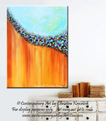 GICLEE PRINT Art Large Abstract Painting Aqua Blue Canvas Prints Teal Rust Gold Multi Colored - Christine Krainock Art - Contemporary Art by Christine - 5